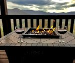 Cozy seating at the fire table to enjoy the picturesque views
