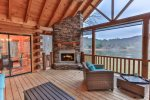 Stay warm by the wood fireplace overlooking Lake Buckhorn