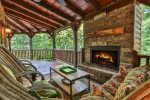 Wonderful conversation awaits you by outdoor fireplace on cool mountain nights