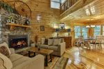 Beautiful great room with gas burning fireplace