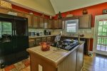 Large kitchen is designed with family in mind