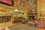 Spacious open floor plan with fireplace.