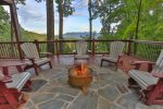 Fire pit with exceptional mountain views at Moose Mountain Lodge