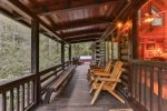 Outdoor seating overlooking the Ellijay River