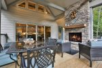 Stunning outdoor fireplace overlooking the Cartecay River