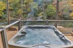 Hot tub with amazing river view