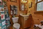 Private master bathroom with tub/shower combo