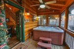 Hot tub in enclosed porch right outside side door