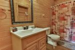 Lower level bathroom with tub/shower combo