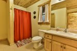 Main level bathroom with washer and dryer