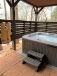 Hot tub with privacy screening