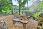 Fire pit area near the lake