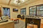 Terrace level covered deck swing