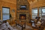 Cozy Living Space At Knotty Bear