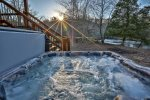 Hot tub overlooking the Toccoa River