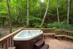 Hot Tub overlooking the mountains and fire pit
