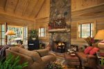 Great Room with a wood burning fireplace