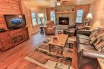Great room with a gas log fireplace