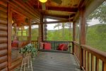 Lounge seating on screened in porch