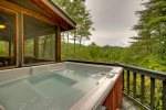 Hot tub overlooking the mountains