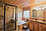 Private upper level bathroom with tub non jetted tub