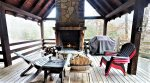 Outdoor fireplace on main level