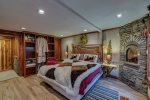Luxurious King Master suite with gas burner fire place