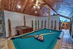 Game room loft with pool table, foosball table