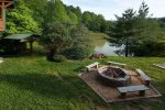 Fire pit area overlooking the stocked pond
