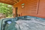 Large covered deck with outdoor dining
