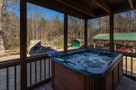 Hot Tub overlooking the Cartecay River and the outdoor fireplace
