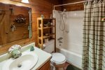 Full bathroom on the main level with a tub/shower combo