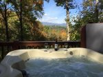 Beautiful hot tub with mountain views