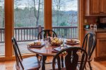 Kitchen table overlooking the beautiful mountains