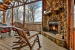 Main Level Deck with wood burning fireplace
