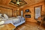 Queen Bedroom on Main with deck access & LED fireplace