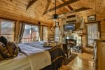 King master bedroom on main with private deck and fireplace