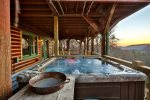 Watch the sunset while relaxing in the hot tub.
