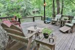 Large deck with river views and lots of seating