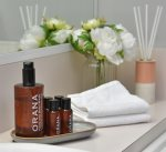 Our lemon grass, mandarin and pepper berry scented amenities provided