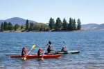 Canoes are available to rent on Lake Jindabyne in summer