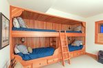 Ground floor bunk room with 4 twin beds
