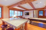 Guest house kitchen and pool table can be a separate play area for guests