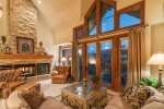 Living Area - Vaulted Ceilings - Unobstructed Mountain Views - Gas Fireplace - HDTV