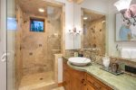 Master bathroom huge soaking tub and steam shower
