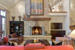 Sit and relax in front of the fire in the living room