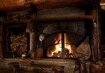 A wood-burning fireplace, a rare amenity in Mountain Village