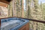 Private hot tub with forest views