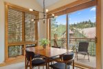 Enjoy mealtime with a side of mountain views from the dining area