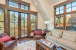 Large windows let in tons of natural light and the mountain views pour in